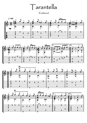 Tarentella traditional Guitar solo music sheet download Traditional