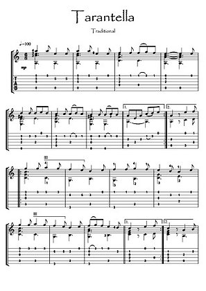 Tarentella traditional Guitar solo music sheet download