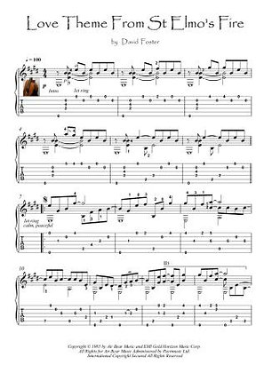 Love Theme From St Elmo's Fire fingerstyle guitar sheet music download