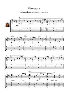 Guitar Valse Guitar Solo Sheet Music Brahms