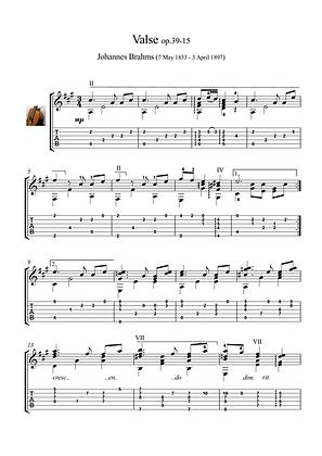 Guitar Valse by Brahms guitar solo sheet music