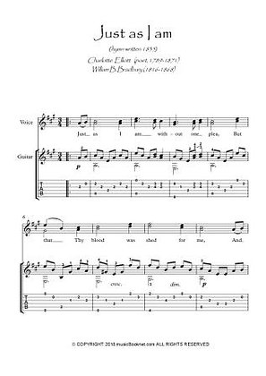Just As I Am Guitar music score download