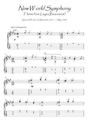 New World Symphony - Largo Theme guitar solo score download