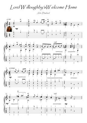 Lord Willoughby's Welcome Home guitar solo score download