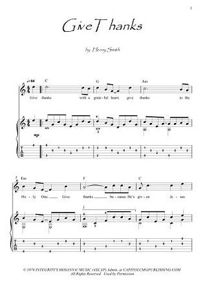 Give Thanks guitar score fingerstyle