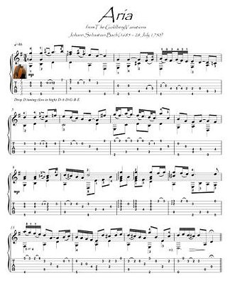 Bach for Guitar Aria BWV 988 score download