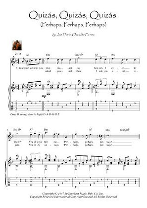 Quizás, quizás, quizás, (perhaps) easy guitar score download