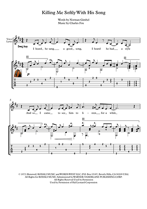 Killing Me Softly Guitar Solo Sheet Music Flack