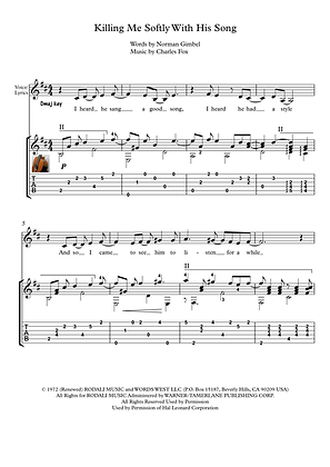 Killing Me Softly guitar solo sheet music