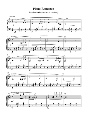 Piano Romance by Gobbaerts piano solo sheet music