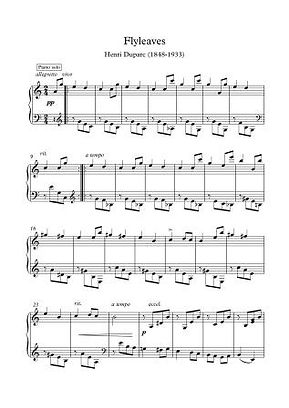 Flyleaves Solo Piano By Henri Duparc
