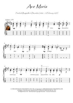 Ave Maria by Bergmuller classical guitar solo score download