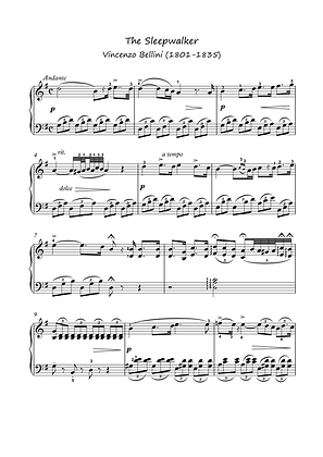 Sleepwalker by Bellini piano solo sheet music