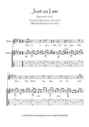 Just As I Am Violin and Guitar duet sheet music sample