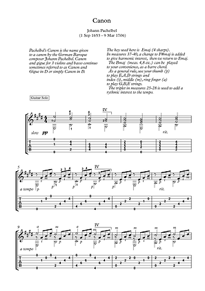 Canon by Pachelbel guitar solo sheet music