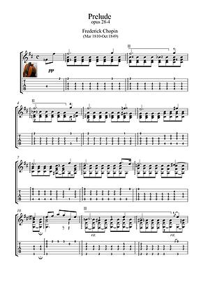 Prelude 28 4 Guitar Solo Sheet Music Chopin