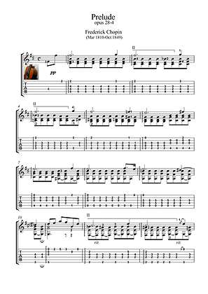 Prelude 28-4 by Chopin guitar solo sheet music
