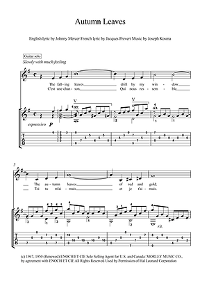 Autumn Leaves Guitar Solo Sheet Music Kosma