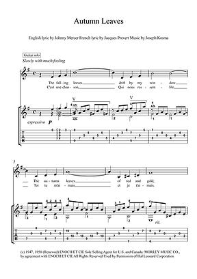 Autumn Leaves Guitar Solo Sheet Music Kosma