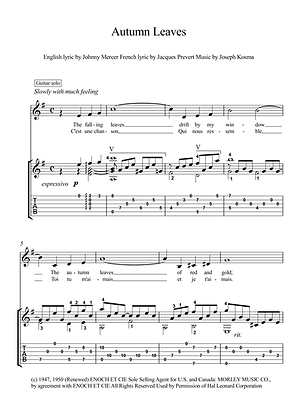 Automn leaves guitar solo sheet music