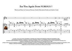 See You Again From Furious 7 Guitar Score Khalifa