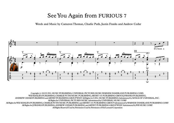 See You Again from FURIOUS 7 guitar score download