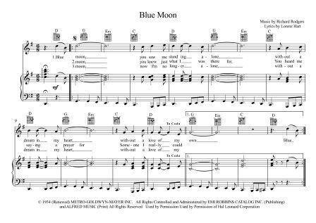 Blue moon piano score pdf