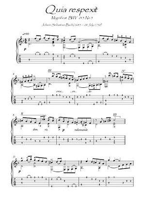 Quia respexit Bach BWV 243-3 guitar solo score download
