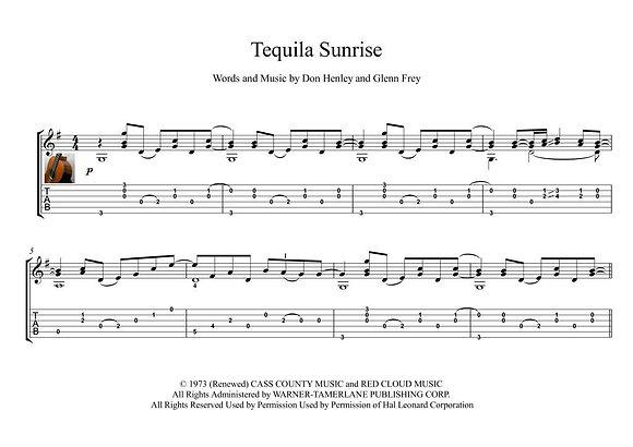 Tequila Sunrise classical guitar solo score download