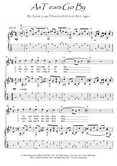 As Tears Go By guitar fingerstyle score download