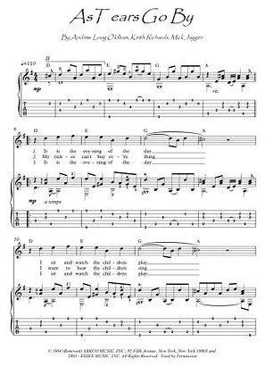 As Tears Go By guitar fingerstyle score fownload