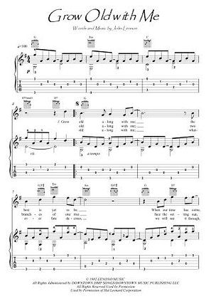 Grow Old With Me guitar fingerstyle score download