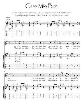 Caro Mio Ben guitar fingerstyle score download