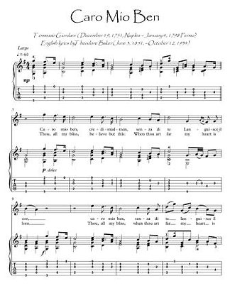 Caro Mio Ben guitar fingerstyle GUITAR SCORE DOWNLOAD