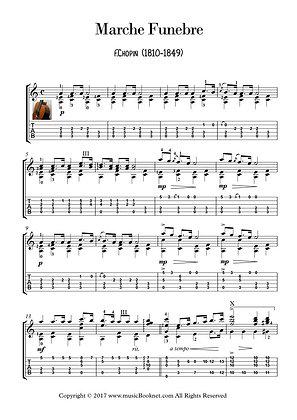 Marche Funebre by Chopin guitar solo sheet music