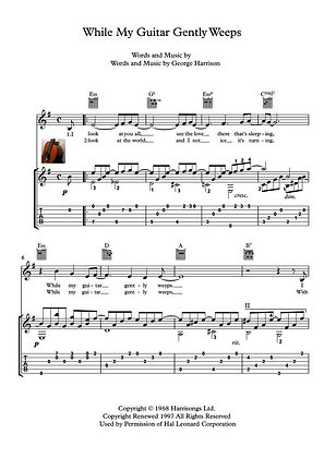 While My Guitar Gently Weeps guitar score sample