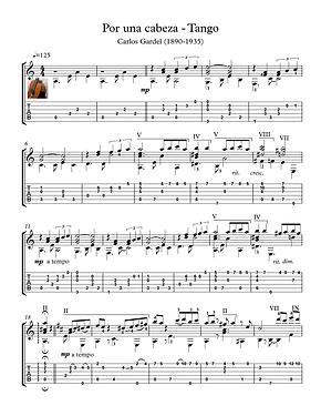 Por Una Cabeza Guitar Solo Sheet Music Gardel