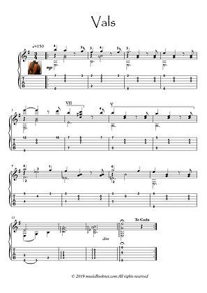 Classical guitar solo - Valse music score download