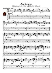 Ave Maria Bach Gounod guitar play along music sheet download