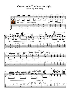 Concerto D Minor Adagio Guitar Solo Sheet Music Pdf Mp3 Bach