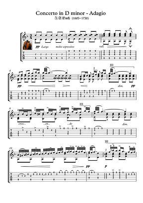 Concerto D Minor Adagio Guitar Solo Sheet Music Pdf Mp3 Bach