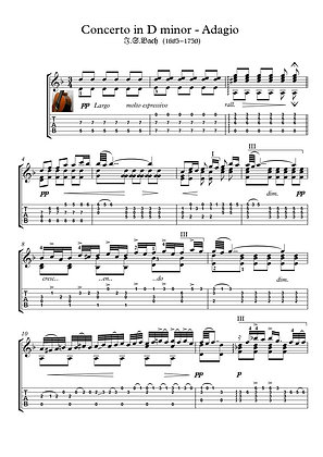 Concerto in D minor - Adagio by Bach guitar solo sheet music