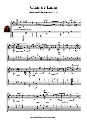 Clair de lune Classical Guitar solo music score by Debussy