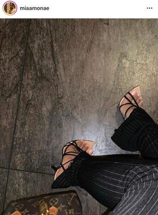 Babe X GUCCI Strappy Heels & LOUIS VUITTON Mini Speedy Bag