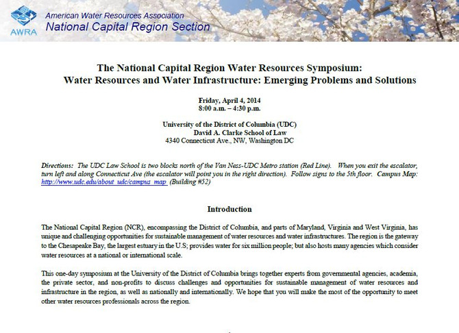 Cabell Brand Center to Co-sponsor 2014 Water Resource Symposium in the National Capital Region