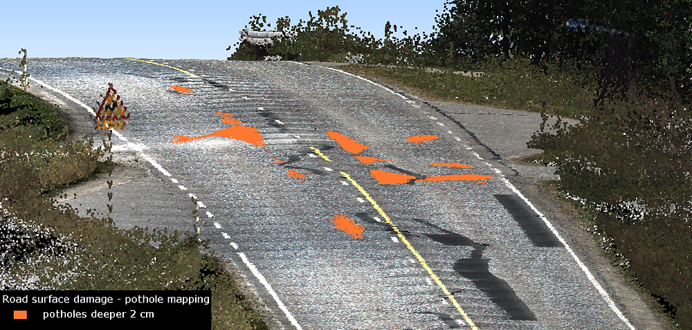 Mobile LiDAR Based Roadway Damage Detection (Performed by Terrasolid Inc.)