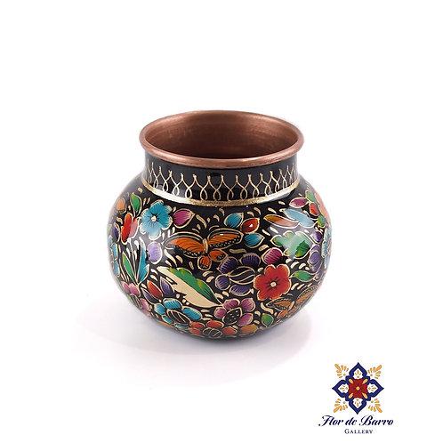 Sergio Velazquez: Black Floral Hammered Copper Vase