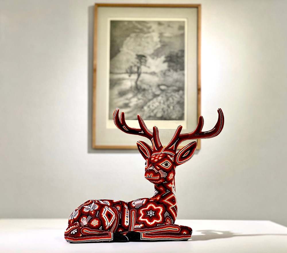 Wixarika (Huichol) Beaded Deer. Background lithography by Set