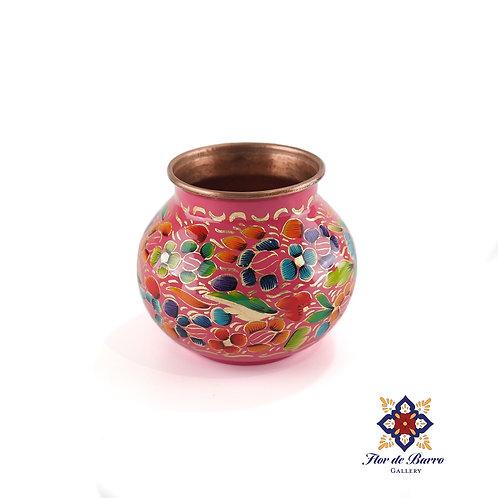 Sergio Velazquez: Pink Floral Hammered Copper Vase