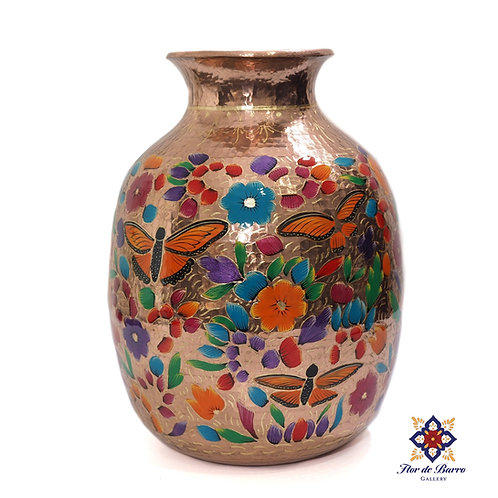 Sergio Velazquez: Traditional Flowered Hammered Copper Vase